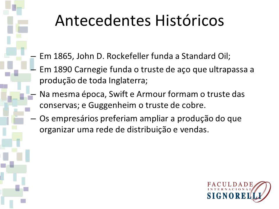Antecedentes Históricos – Em 1865, John D. Rockefeller funda a Standard Oil; – Em 1890 Carnegie funda o truste de aço que ultrapassa a produção de tod