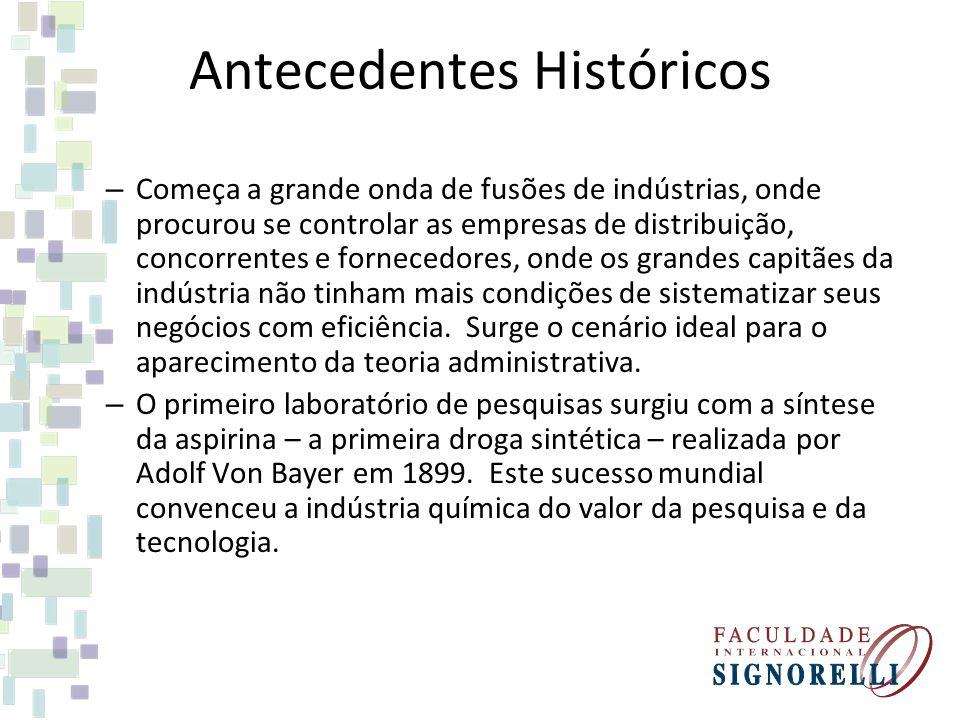Antecedentes Históricos – Começa a grande onda de fusões de indústrias, onde procurou se controlar as empresas de distribuição, concorrentes e fornece