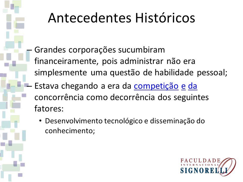 Antecedentes Históricos – Grandes corporações sucumbiram financeiramente, pois administrar não era simplesmente uma questão de habilidade pessoal; – E