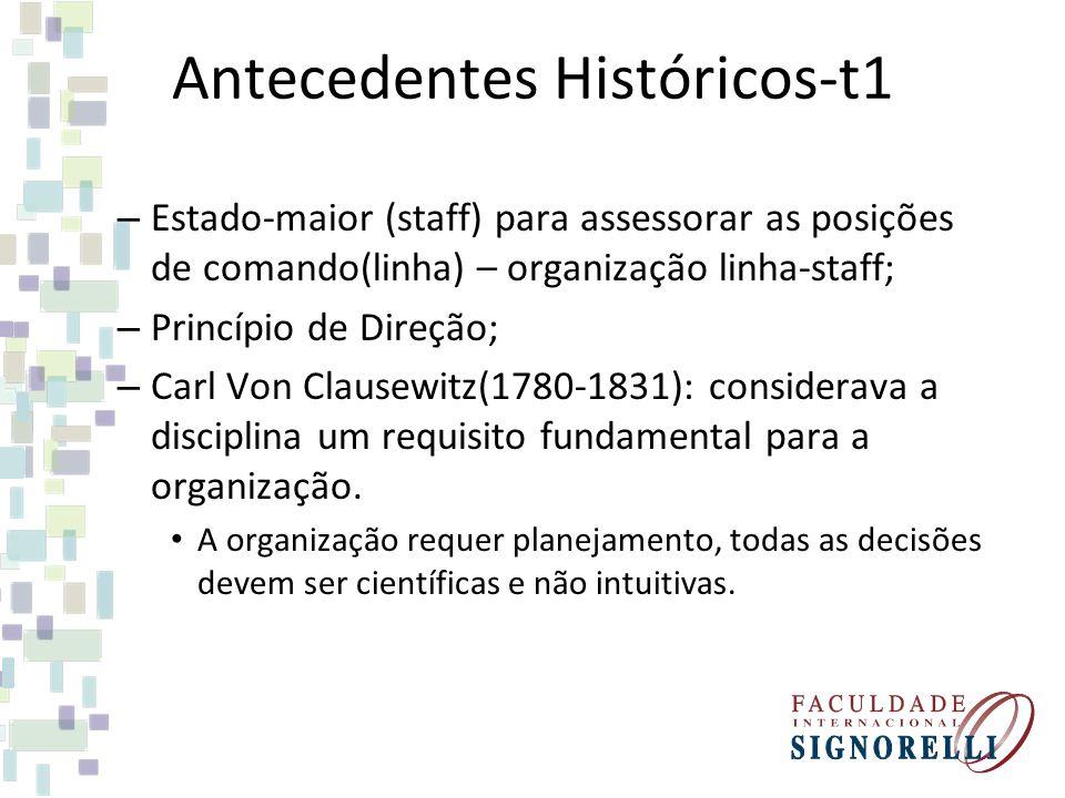 Antecedentes Históricos-t1 – Estado-maior (staff) para assessorar as posições de comando(linha) – organização linha-staff; – Princípio de Direção; – C