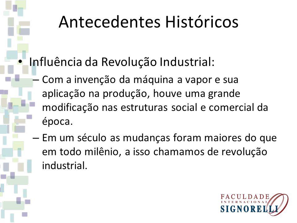 Antecedentes Históricos Influência da Revolução Industrial: – Com a invenção da máquina a vapor e sua aplicação na produção, houve uma grande modifica