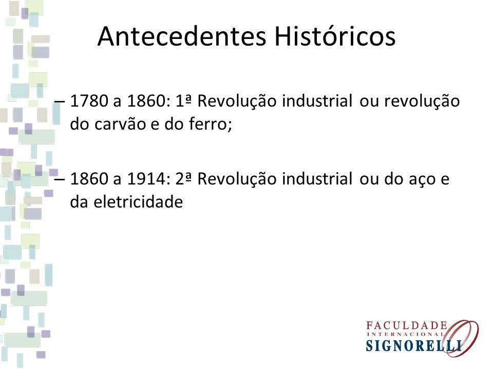 Antecedentes Históricos – 1780 a 1860: 1ª Revolução industrial ou revolução do carvão e do ferro; – 1860 a 1914: 2ª Revolução industrial ou do aço e d