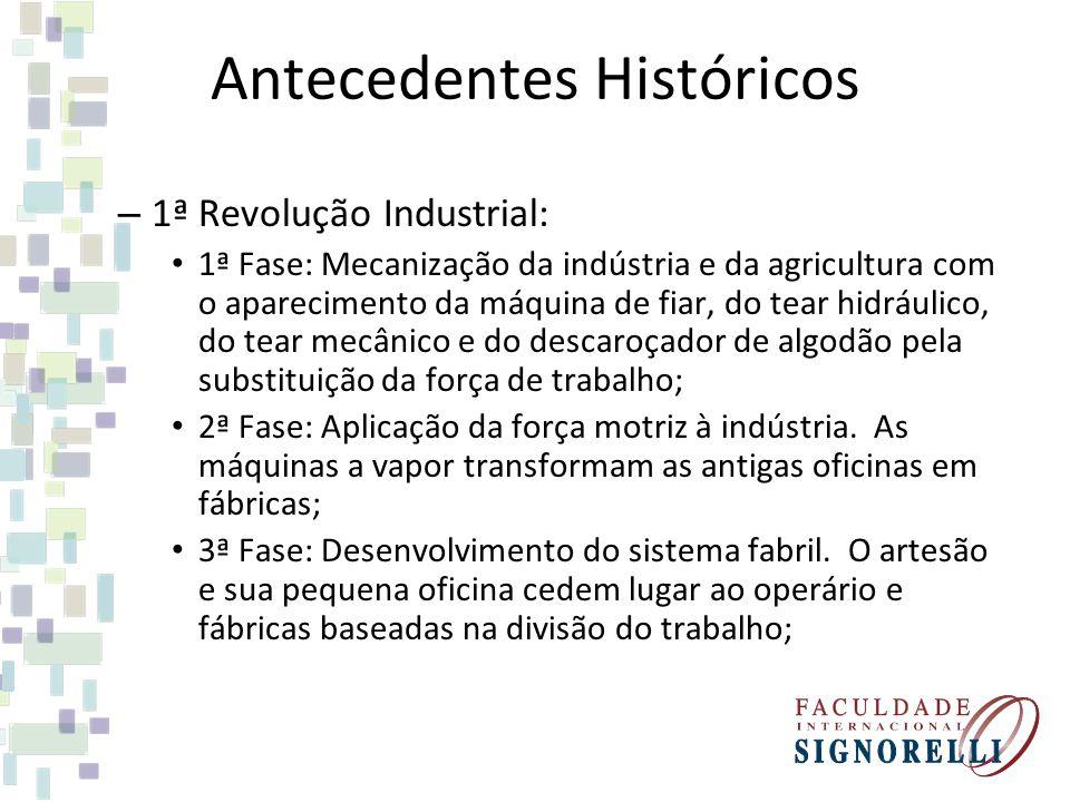 Antecedentes Históricos – 1ª Revolução Industrial: 1ª Fase: Mecanização da indústria e da agricultura com o aparecimento da máquina de fiar, do tear h