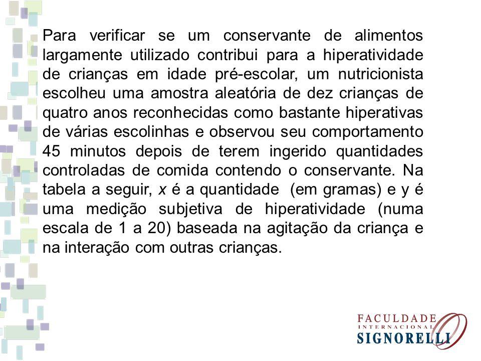Para verificar se um conservante de alimentos largamente utilizado contribui para a hiperatividade de crianças em idade pré-escolar, um nutricionista