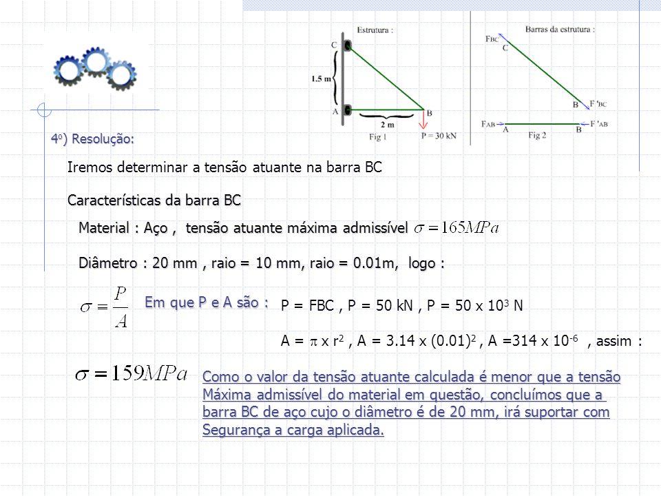 4 o ) Resolução: Características da barra BC Material : Aço, tensão atuante máxima admissível Diâmetro : 20 mm, raio = 10 mm, raio = 0.01m, logo : Ire