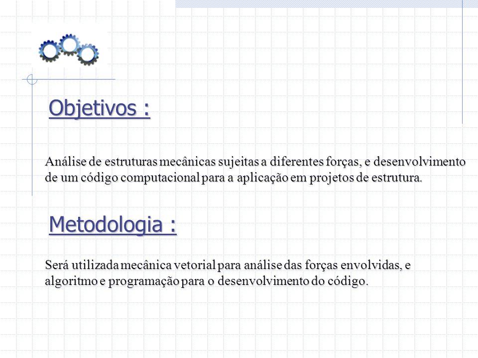Objetivos : Análise de estruturas mecânicas sujeitas a diferentes forças, e desenvolvimento de um código computacional para a aplicação em projetos de