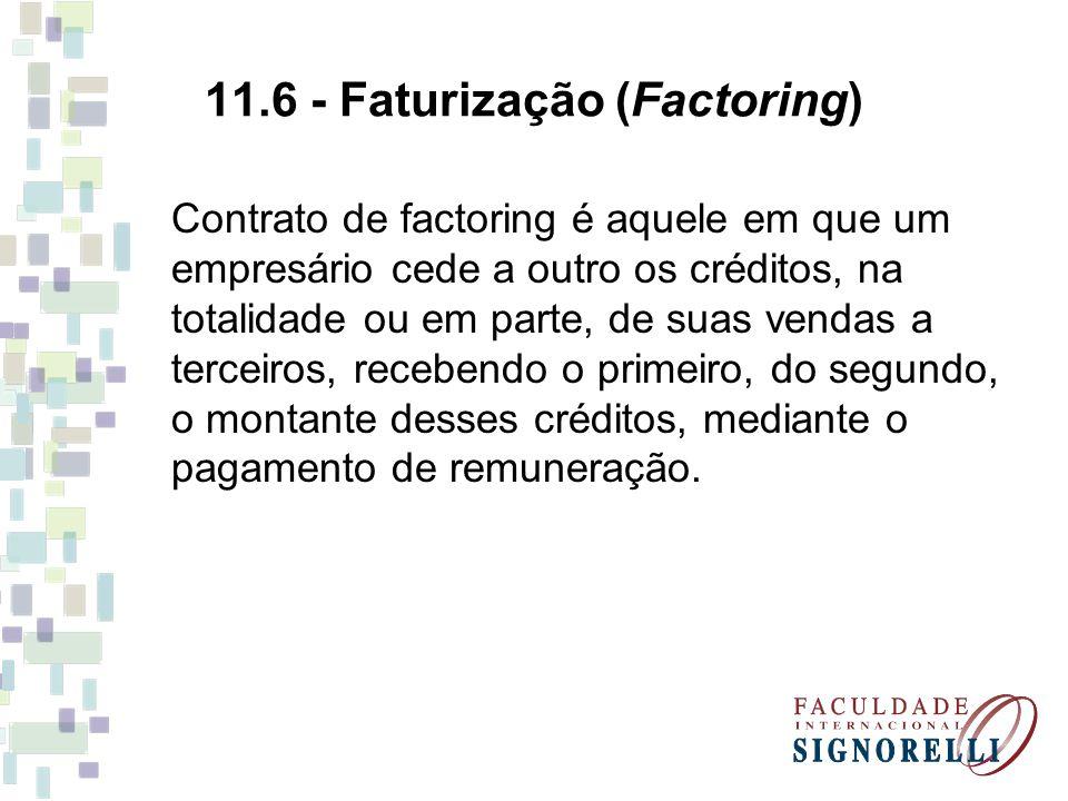 11.6 - Faturização (Factoring) Contrato de factoring é aquele em que um empresário cede a outro os créditos, na totalidade ou em parte, de suas vendas