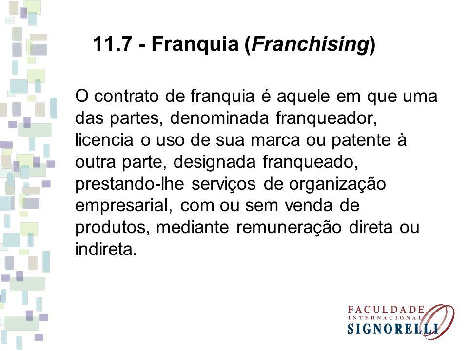 11.7 - Franquia (Franchising) O contrato de franquia é aquele em que uma das partes, denominada franqueador, licencia o uso de sua marca ou patente à