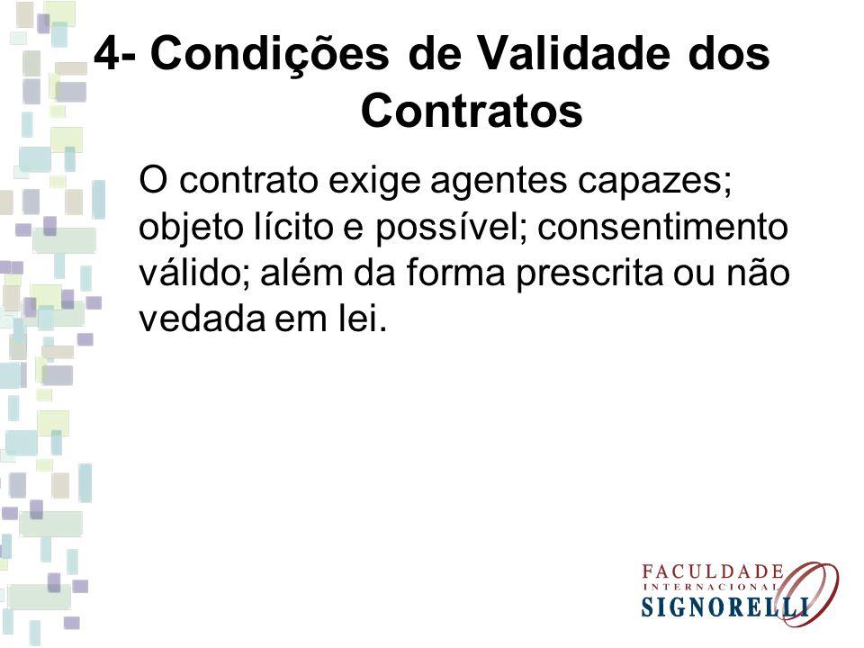 4- Condições de Validade dos Contratos O contrato exige agentes capazes; objeto lícito e possível; consentimento válido; além da forma prescrita ou nã