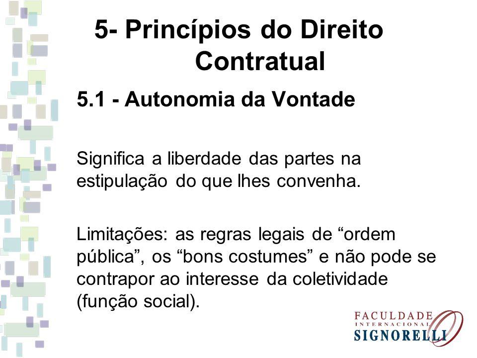 5- Princípios do Direito Contratual 5.1 - Autonomia da Vontade Significa a liberdade das partes na estipulação do que lhes convenha. Limitações: as re