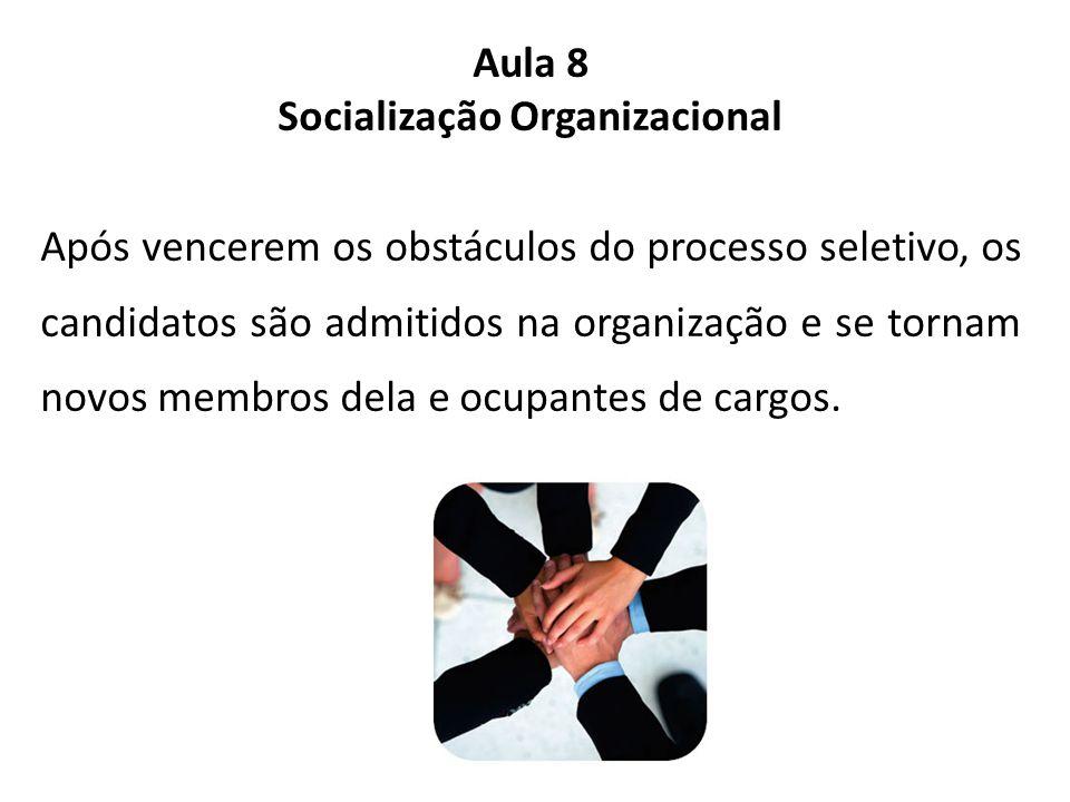 Aula 8 Socialização Organizacional Após vencerem os obstáculos do processo seletivo, os candidatos são admitidos na organização e se tornam novos membros dela e ocupantes de cargos.