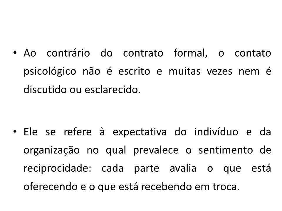 Ao contrário do contrato formal, o contato psicológico não é escrito e muitas vezes nem é discutido ou esclarecido.
