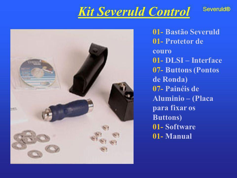 01- Bastão Severuld 01- Protetor de couro 01- DLSI – Interface 07- Buttons (Pontos de Ronda) 07- Painéis de Aluminio – (Placa para fixar os Buttons) 0