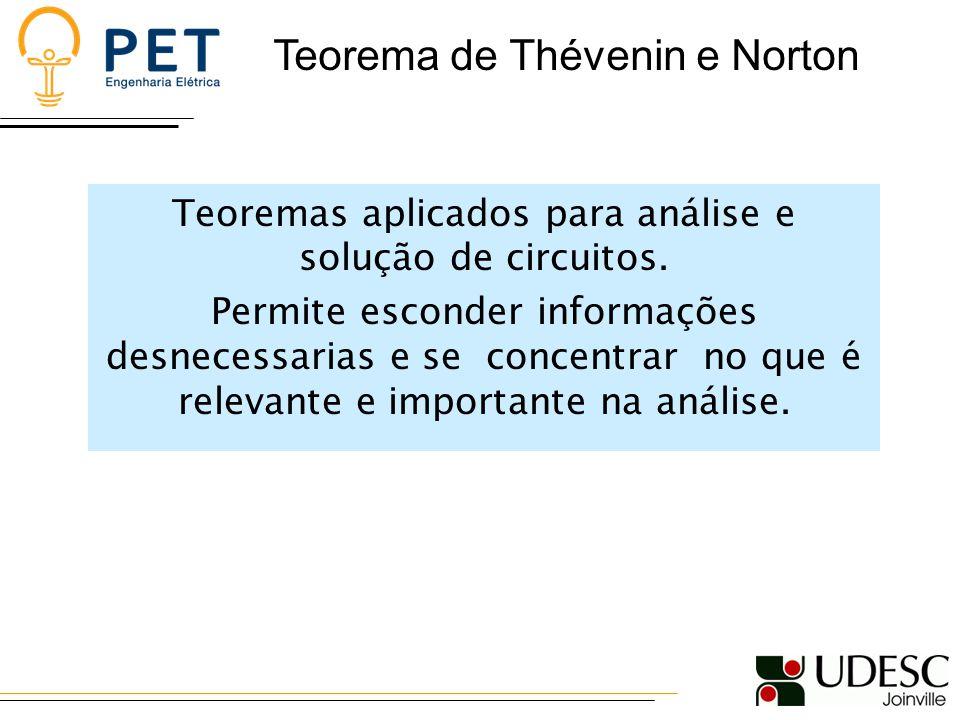 Teoremas aplicados para análise e solução de circuitos.