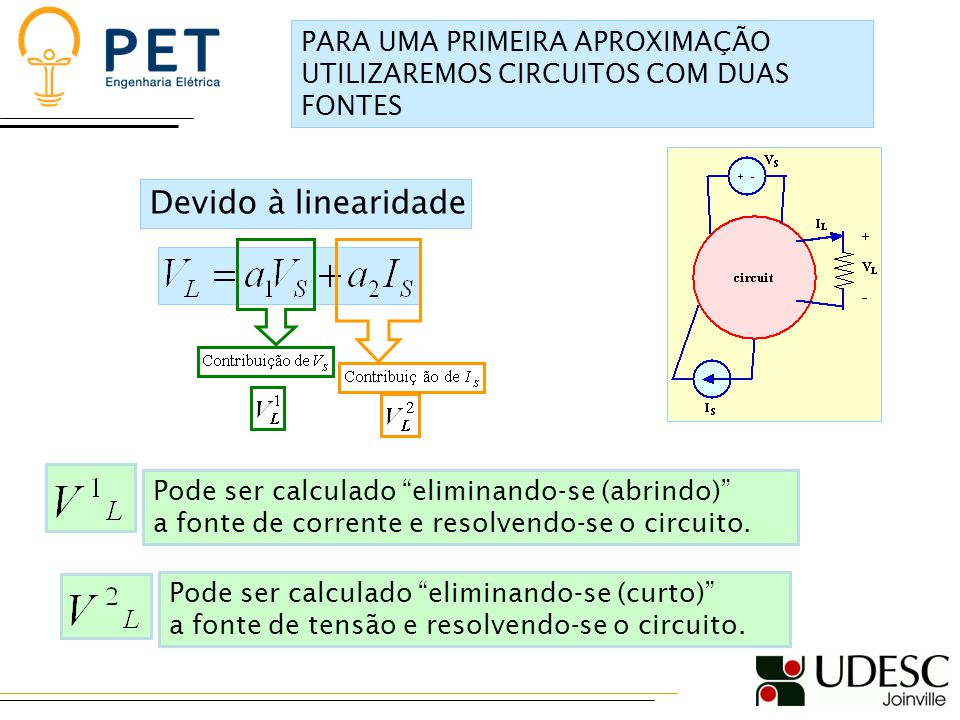 Devido à linearidade Pode ser calculado eliminando-se (abrindo) a fonte de corrente e resolvendo-se o circuito.