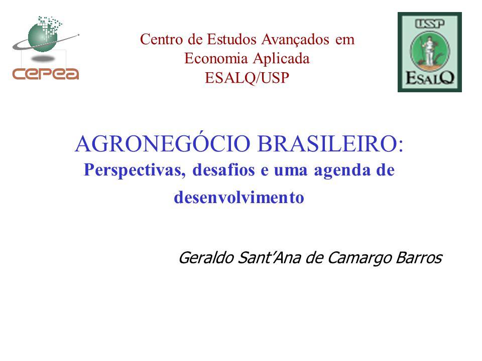 AGRONEGÓCIO BRASILEIRO: Perspectivas, desafios e uma agenda de desenvolvimento Geraldo Sant'Ana de Camargo Barros Centro de Estudos Avançados em Economia Aplicada ESALQ/USP