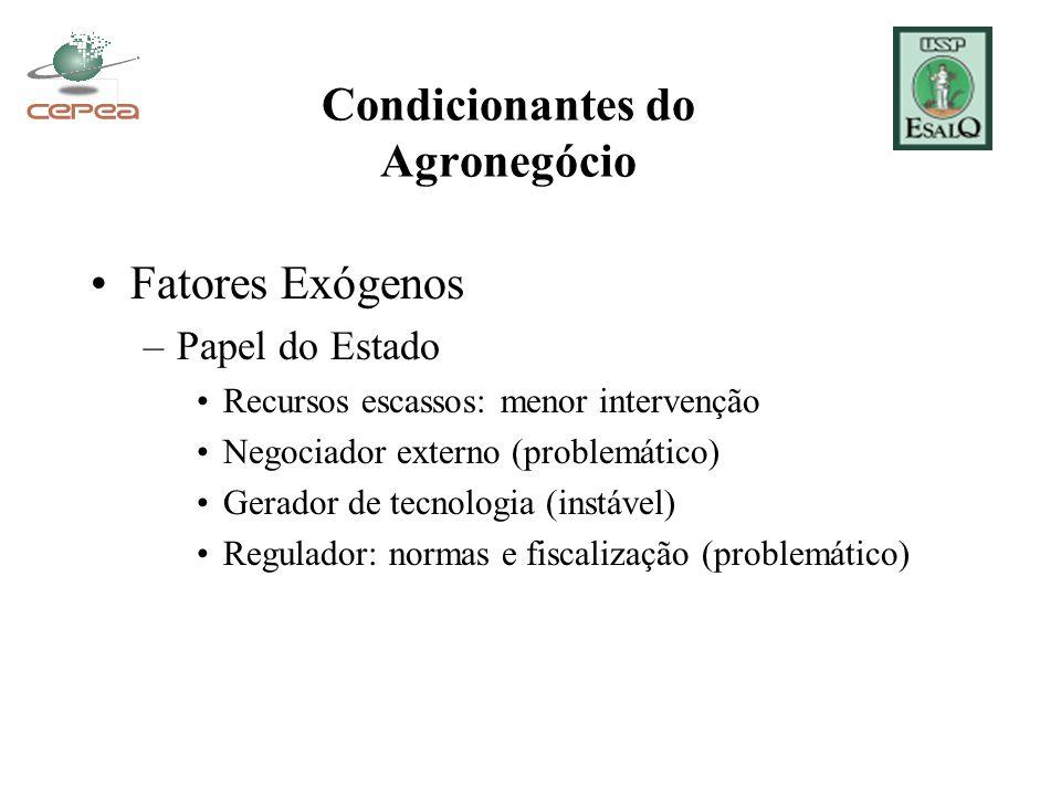 Condicionantes do Agronegócio Fatores Exógenos –Papel do Estado Recursos escassos: menor intervenção Negociador externo (problemático) Gerador de tecn