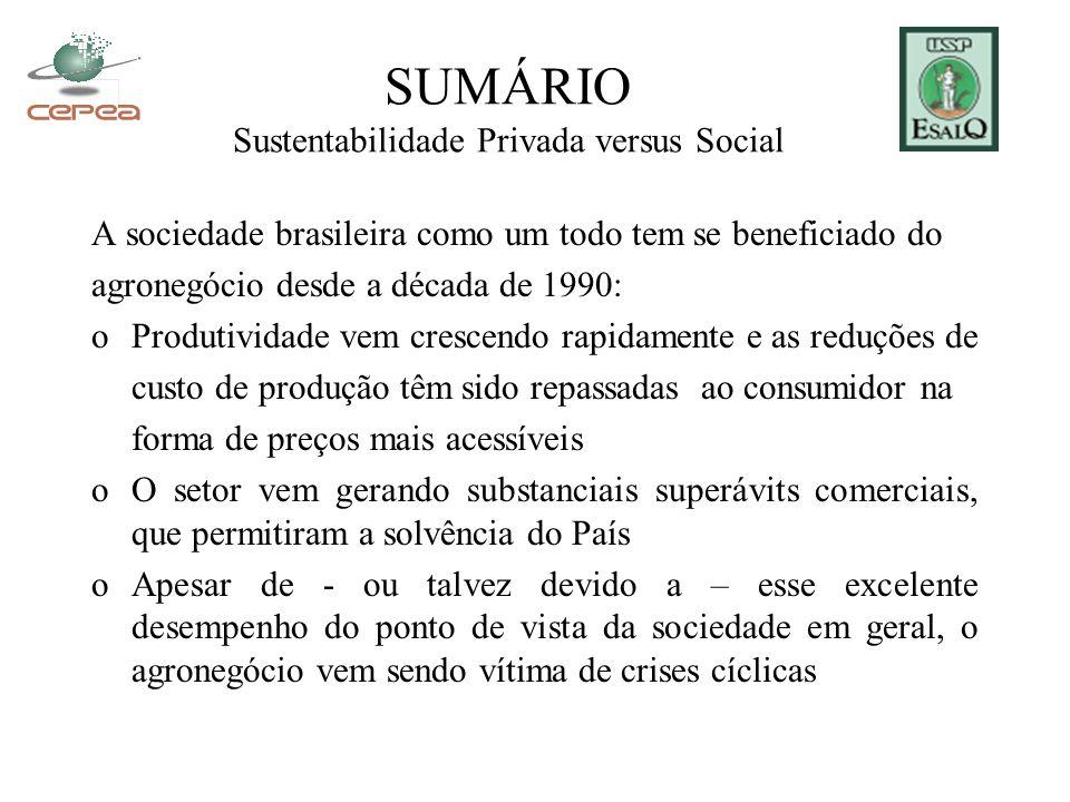 SUMÁRIO Sustentabilidade Privada versus Social A sociedade brasileira como um todo tem se beneficiado do agronegócio desde a década de 1990: oProdutiv