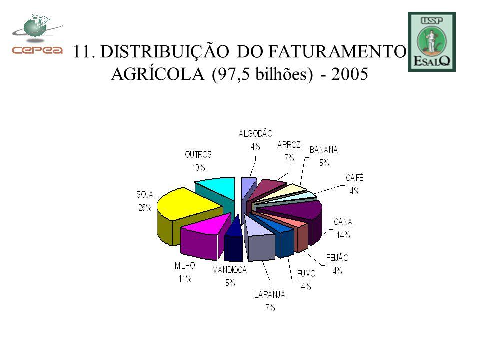 11. DISTRIBUIÇÃO DO FATURAMENTO AGRÍCOLA (97,5 bilhões) - 2005