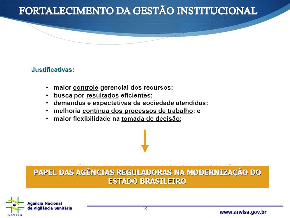 Agência Nacional de Vigilância Sanitária www.anvisa.gov.br Justificativas: maior controle gerencial dos recursos; busca por resultados eficientes; dem