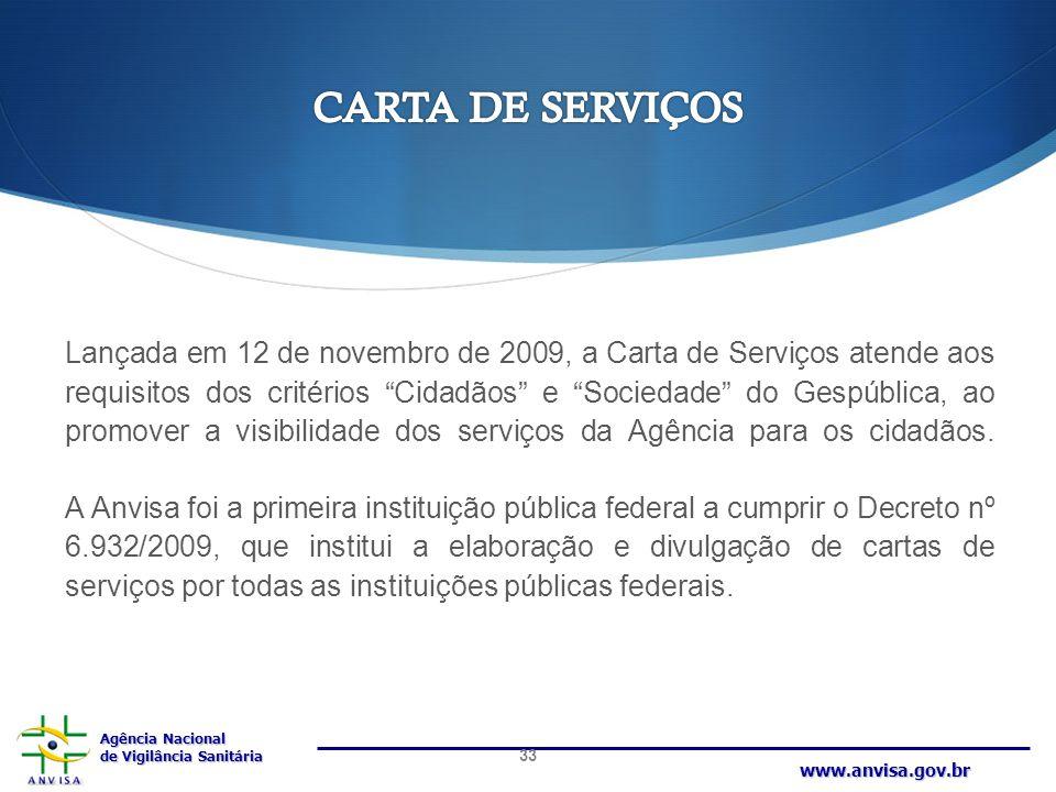 Agência Nacional de Vigilância Sanitária www.anvisa.gov.br Lançada em 12 de novembro de 2009, a Carta de Serviços atende aos requisitos dos critérios