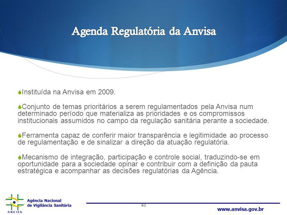 Agência Nacional de Vigilância Sanitária www.anvisa.gov.br  Instituída na Anvisa em 2009.  Conjunto de temas prioritários a serem regulamentados pel