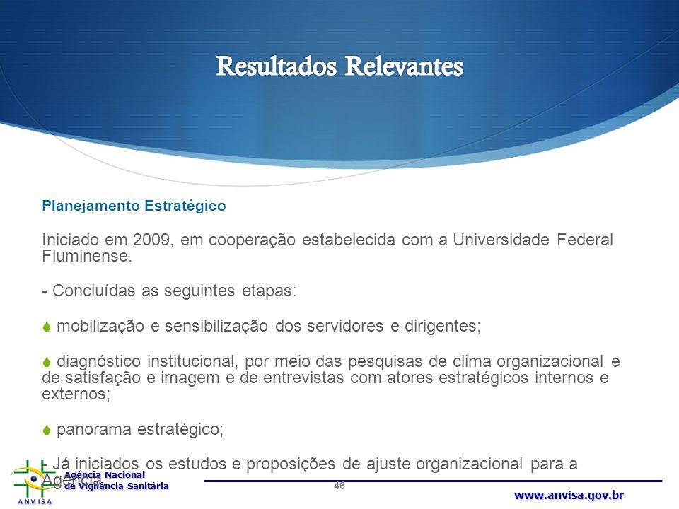 Agência Nacional de Vigilância Sanitária www.anvisa.gov.br Planejamento Estratégico Iniciado em 2009, em cooperação estabelecida com a Universidade Fe
