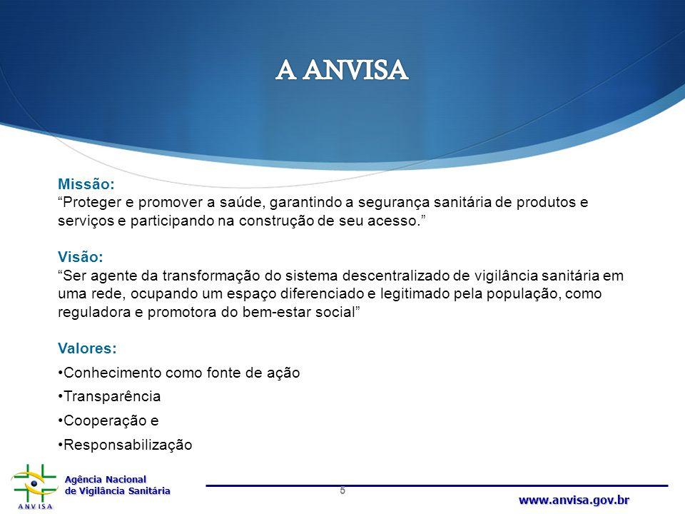 """Agência Nacional de Vigilância Sanitária www.anvisa.gov.br Missão: """"Proteger e promover a saúde, garantindo a segurança sanitária de produtos e serviç"""