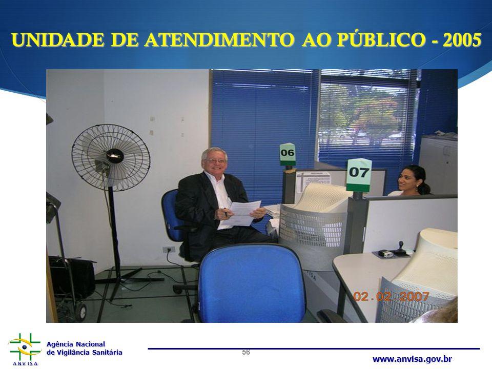 Agência Nacional de Vigilância Sanitária www.anvisa.gov.br UNIDADE DE ATENDIMENTO AO PÚBLICO - 2005 56