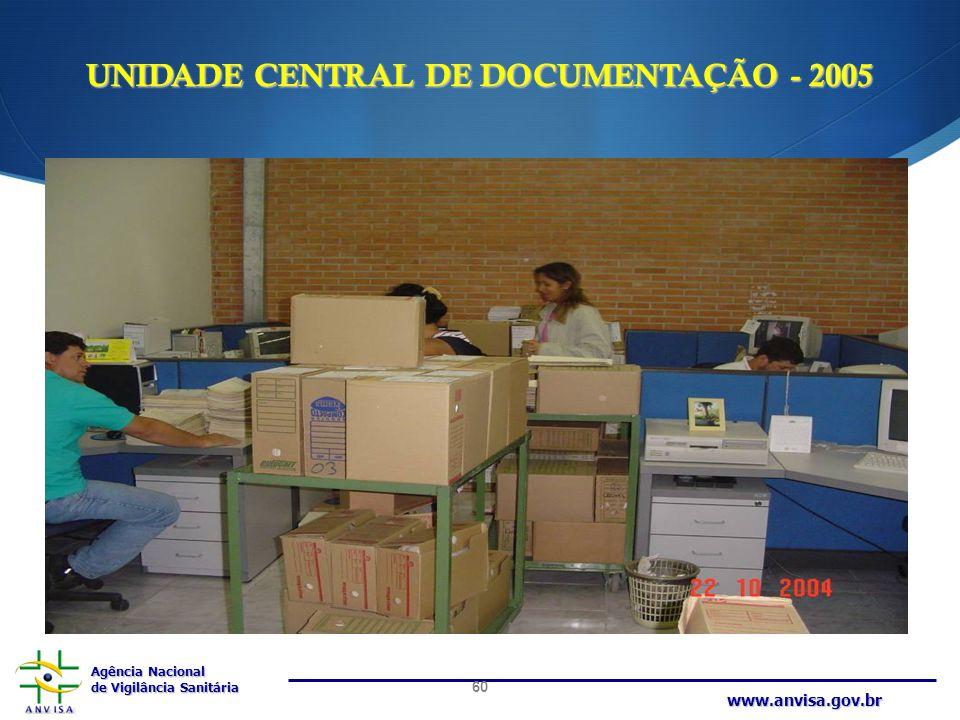 Agência Nacional de Vigilância Sanitária www.anvisa.gov.br UNIDADE CENTRAL DE DOCUMENTAÇÃO - 2005 60