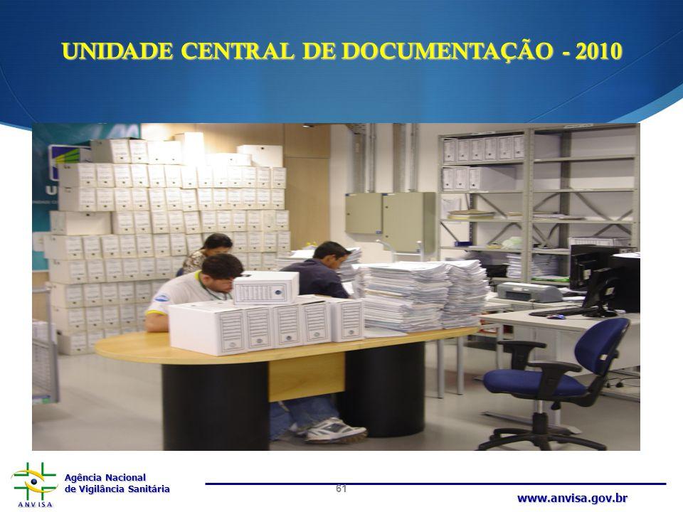 Agência Nacional de Vigilância Sanitária www.anvisa.gov.br UNIDADE CENTRAL DE DOCUMENTAÇÃO - 2010 61