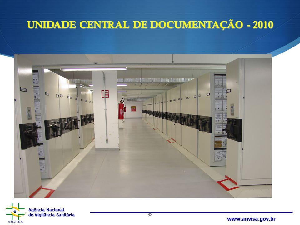 Agência Nacional de Vigilância Sanitária www.anvisa.gov.br UNIDADE CENTRAL DE DOCUMENTAÇÃO - 2010 63