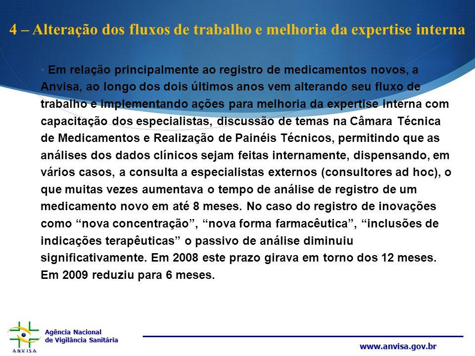 Agência Nacional de Vigilância Sanitária www.anvisa.gov.br 4 – Alteração dos fluxos de trabalho e melhoria da expertise interna Em relação principalme