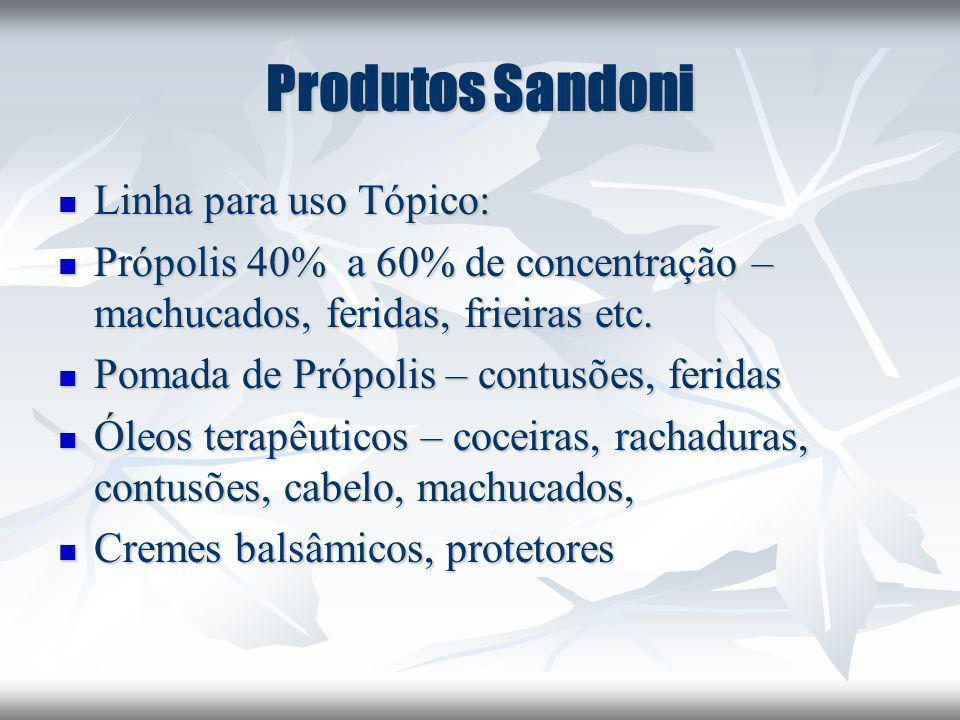 Produtos Sandoni Linha para uso Tópico: Linha para uso Tópico: Própolis 40% a 60% de concentração – machucados, feridas, frieiras etc. Própolis 40% a