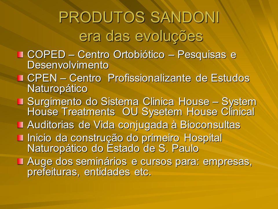 PRODUTOS SANDONI era das evoluções COPED – Centro Ortobiótico – Pesquisas e Desenvolvimento CPEN – Centro Profissionalizante de Estudos Naturopático S