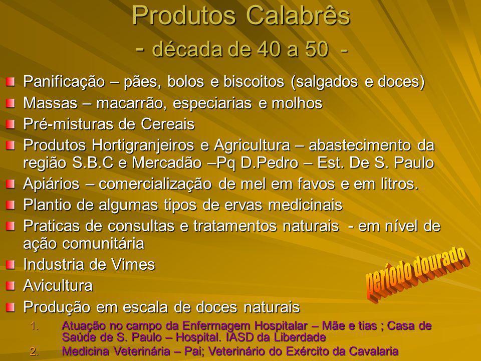 Produtos Calabrês - década de 40 a 50 - Panificação – pães, bolos e biscoitos (salgados e doces) Massas – macarrão, especiarias e molhos Pré-misturas