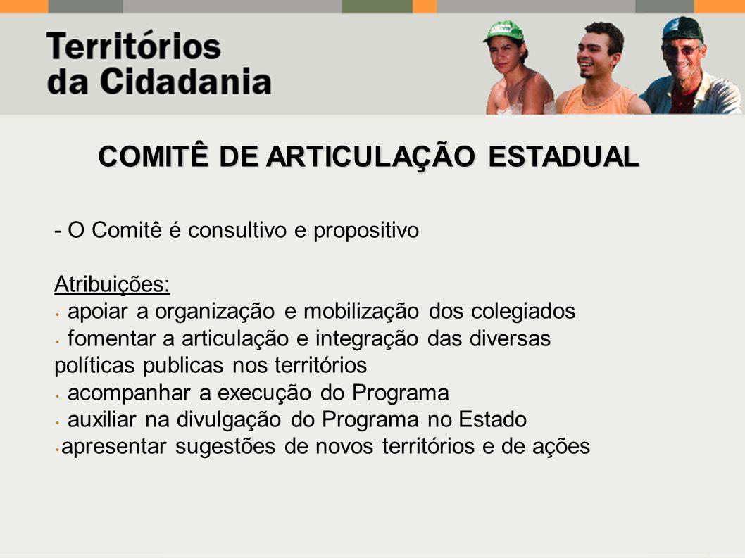 - O Comitê é consultivo e propositivo Atribuições: apoiar a organização e mobilização dos colegiados fomentar a articulação e integração das diversas