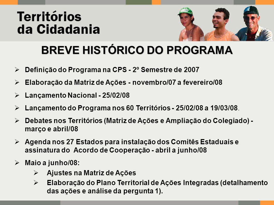 BREVE HISTÓRICO DO PROGRAMA  Definição do Programa na CPS - 2º Semestre de 2007  Elaboração da Matriz de Ações - novembro/07 a fevereiro/08  Lançamento Nacional - 25/02/08  Lançamento do Programa nos 60 Territórios - 25/02/08 a 19/03/08.