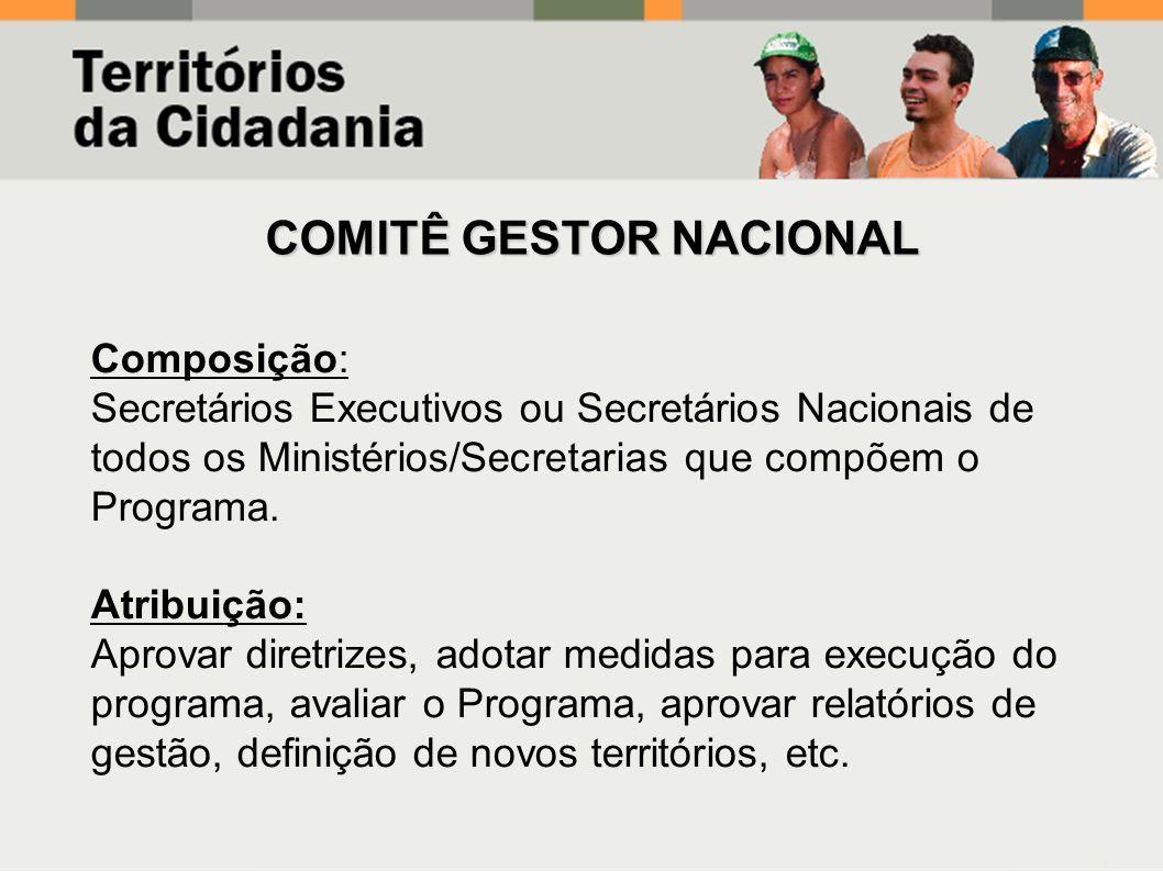 Composição: Secretários Executivos ou Secretários Nacionais de todos os Ministérios/Secretarias que compõem o Programa. Atribuição: Aprovar diretrizes