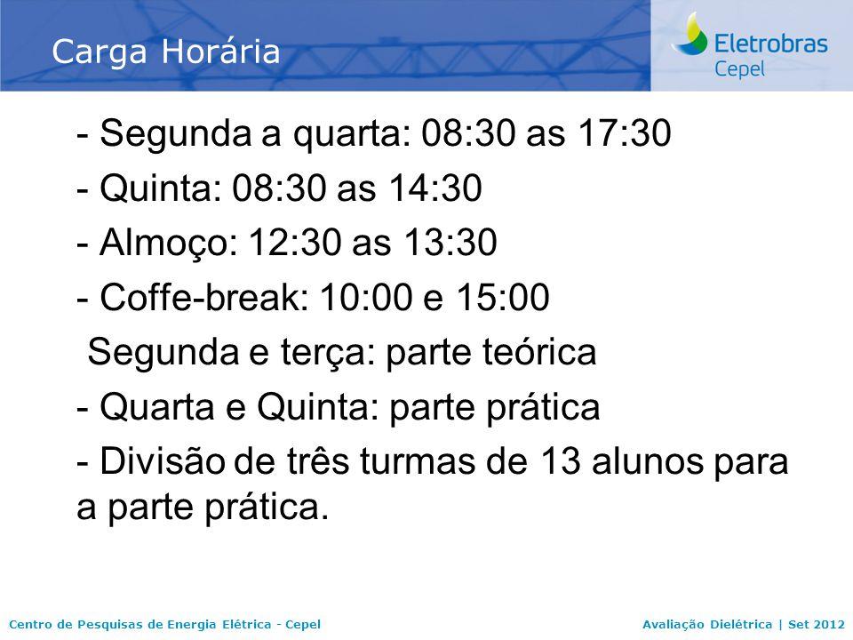 Centro de Pesquisas de Energia Elétrica - CepelAvaliação Dielétrica | Set 2012 - Segunda a quarta: 08:30 as 17:30 - Quinta: 08:30 as 14:30 - Almoço: 12:30 as 13:30 - Coffe-break: 10:00 e 15:00 Segunda e terça: parte teórica - Quarta e Quinta: parte prática - Divisão de três turmas de 13 alunos para a parte prática.