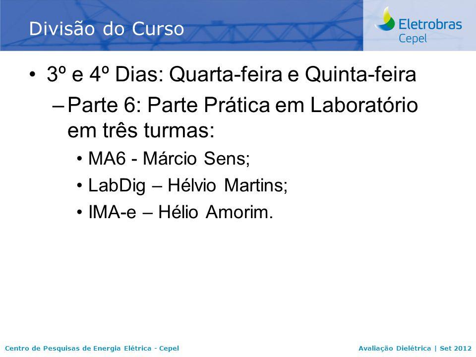 Centro de Pesquisas de Energia Elétrica - CepelAvaliação Dielétrica | Set 2012 3º e 4º Dias: Quarta-feira e Quinta-feira –Parte 6: Parte Prática em Laboratório em três turmas: MA6 - Márcio Sens; LabDig – Hélvio Martins; IMA-e – Hélio Amorim.