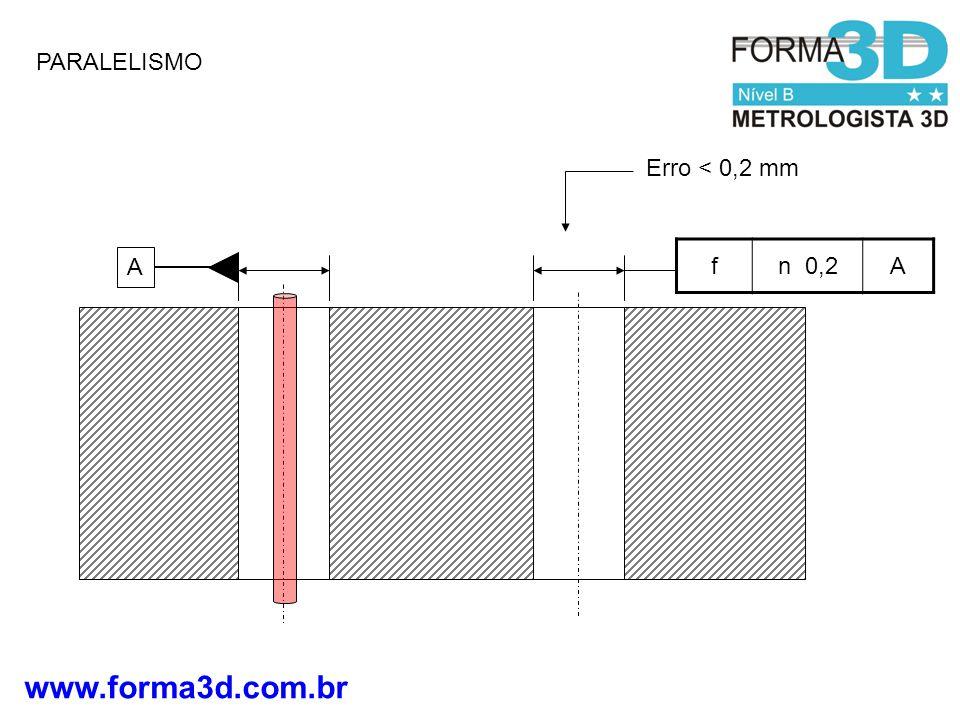 www.forma3d.com.br PARALELISMO fn 0,2A A Erro < 0,2 mm