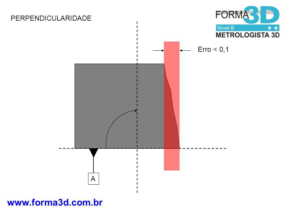 www.forma3d.com.br PERPENDICULARIDADE A Erro < 0,1
