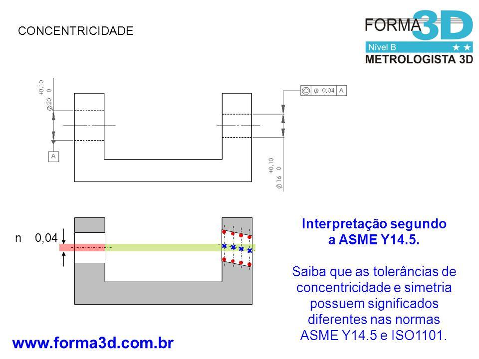 www.forma3d.com.br CONCENTRICIDADE n 0,04 Interpretação segundo a ASME Y14.5.