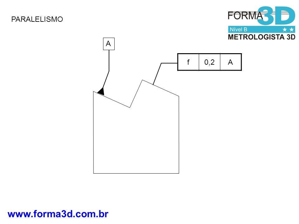 www.forma3d.com.br SIMETRIA Datum A-B Zona de Tolerância de 0,08 mm Posição do plano médio do oblongo