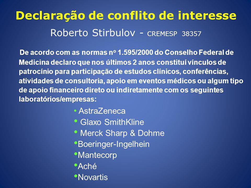 Declaração de conflito de interesse Roberto Stirbulov - CREMESP 38357 De acordo com as normas n o 1.595/2000 do Conselho Federal de Medicina declaro q
