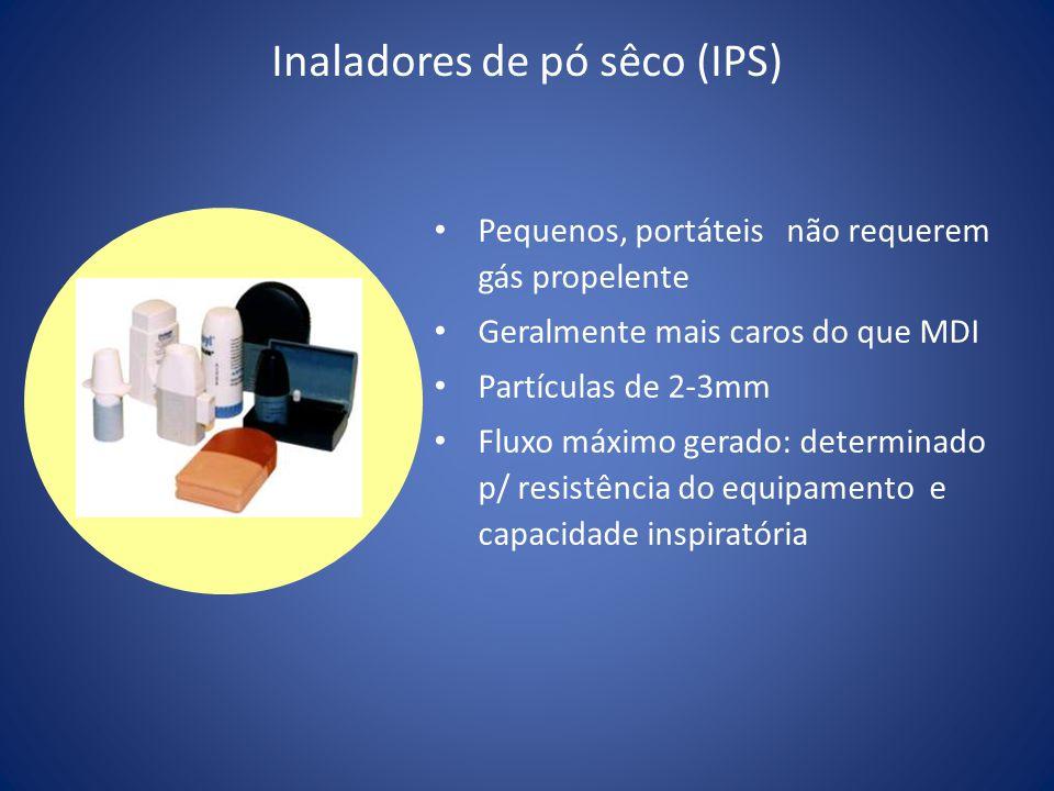 Inaladores de pó sêco (IPS) Pequenos, portáteis não requerem gás propelente Geralmente mais caros do que MDI Partículas de 2-3mm Fluxo máximo gerado: