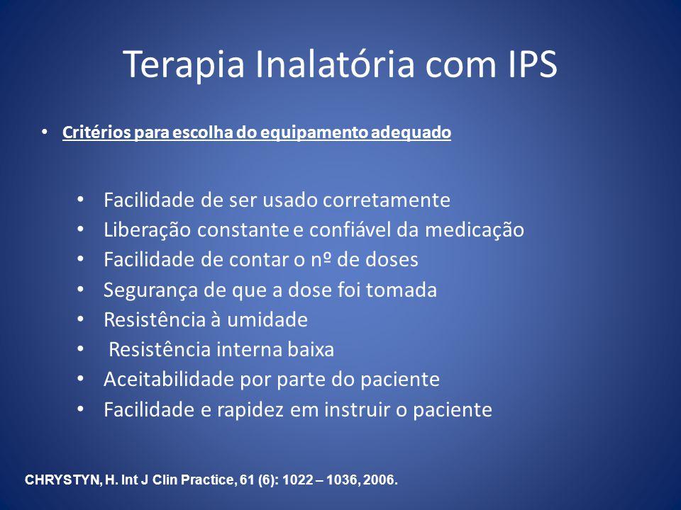Terapia Inalatória com IPS Critérios para escolha do equipamento adequado Facilidade de ser usado corretamente Liberação constante e confiável da medi