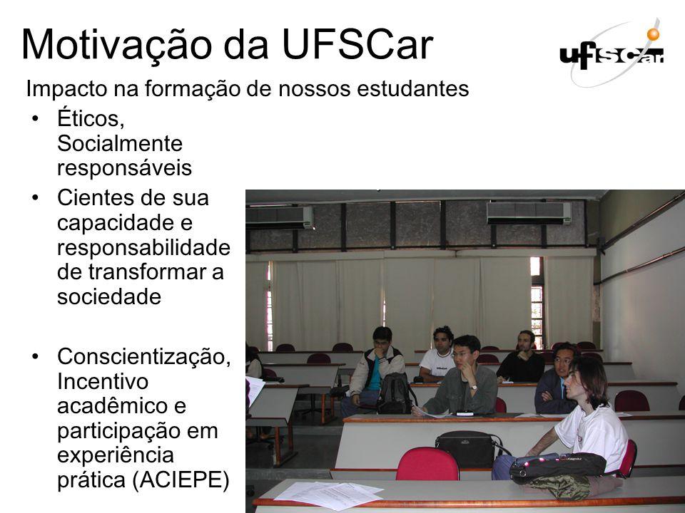 Motivação da UFSCar Éticos, Socialmente responsáveis Cientes de sua capacidade e responsabilidade de transformar a sociedade Conscientização, Incentiv
