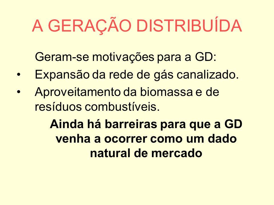 A GERAÇÃO DISTRIBUÍDA Geram-se motivações para a GD: Expansão da rede de gás canalizado. Aproveitamento da biomassa e de resíduos combustíveis. Ainda